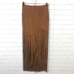 NEW Rumor Boutique X LF Faux Suede Fringe Skirt